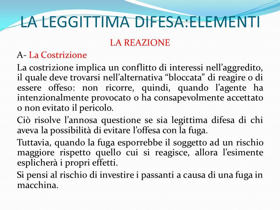 LA LEGGITTIMA DIFESA:ELEMENTI LA REAZIONE A- La Costrizione La costrizione implica un conflitto di interessi nell'aggredito, il quale deve trovarsi ne
