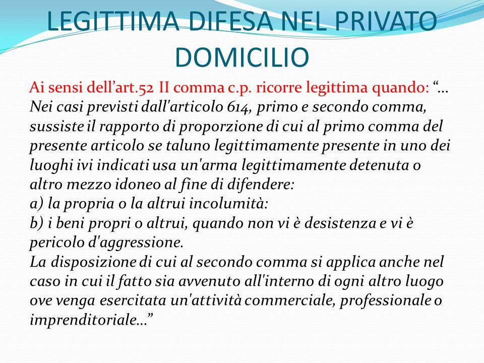 """LEGITTIMA DIFESA NEL PRIVATO DOMICILIO Ai sensi dell'art.52 II comma c.p. ricorre legittima quando: """"… Nei casi previsti dall'articolo 614, primo e se"""