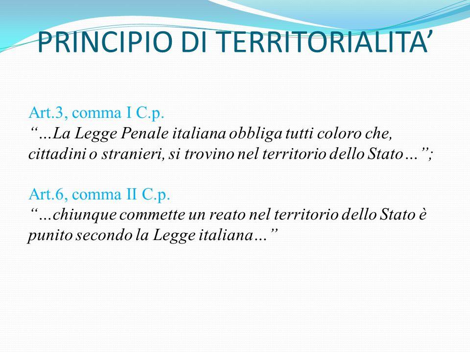 """PRINCIPIO DI TERRITORIALITA' Art.3, comma I C.p. """"…La Legge Penale italiana obbliga tutti coloro che, cittadini o stranieri, si trovino nel territorio"""