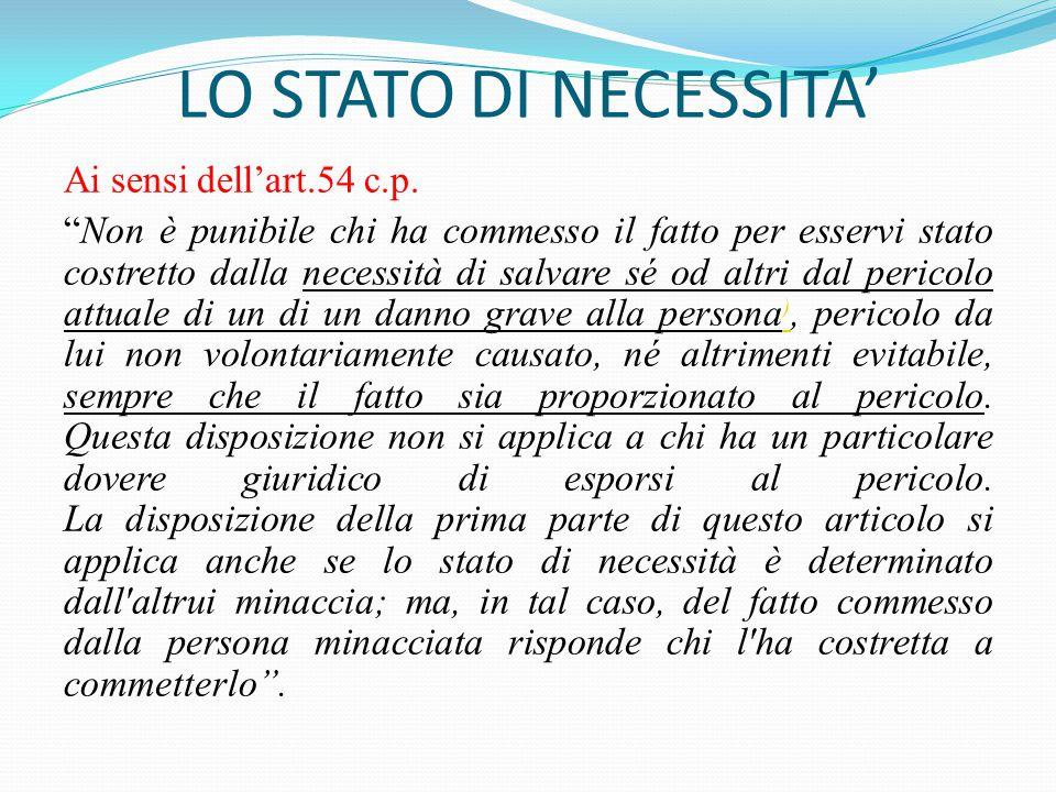 """LO STATO DI NECESSITA' Ai sensi dell'art.54 c.p. """"Non è punibile chi ha commesso il fatto per esservi stato costretto dalla necessità di salvare sé od"""