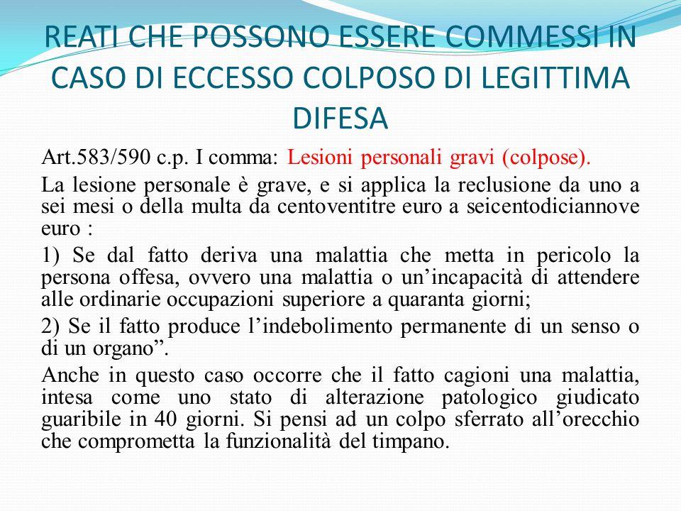 REATI CHE POSSONO ESSERE COMMESSI IN CASO DI ECCESSO COLPOSO DI LEGITTIMA DIFESA Art.583/590 c.p. I comma: Lesioni personali gravi (colpose). La lesio