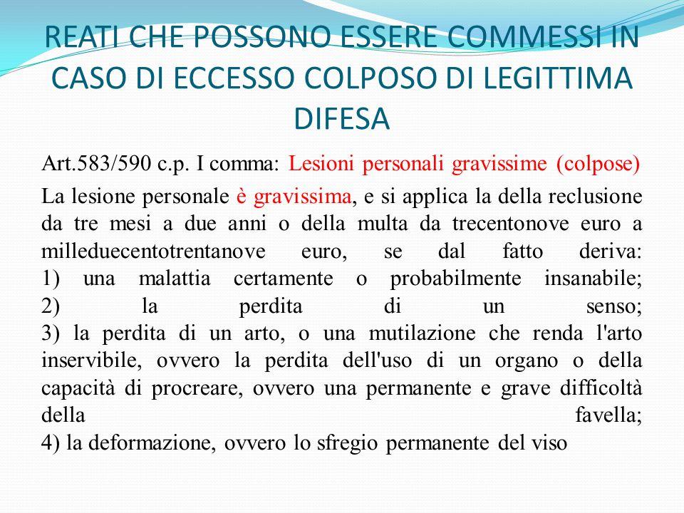 REATI CHE POSSONO ESSERE COMMESSI IN CASO DI ECCESSO COLPOSO DI LEGITTIMA DIFESA Art.583/590 c.p. I comma: Lesioni personali gravissime (colpose) La l