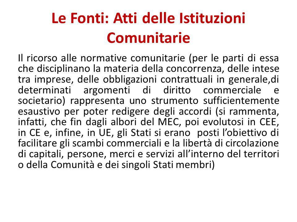 Le Fonti: Atti delle Istituzioni Comunitarie Il ricorso alle normative comunitarie (per le parti di essa che disciplinano la materia della concorrenza