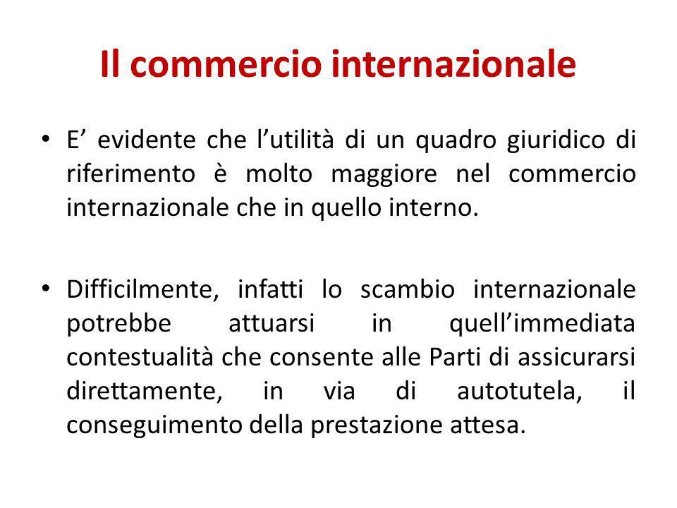 Il commercio internazionale E' evidente che l'utilità di un quadro giuridico di riferimento è molto maggiore nel commercio internazionale che in quell