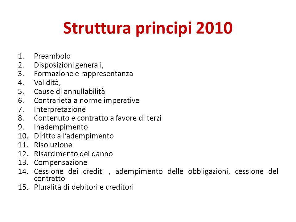 Struttura principi 2010 1.Preambolo 2.Disposizioni generali, 3.Formazione e rappresentanza 4.Validità, 5.Cause di annullabilità 6.Contrarietà a norme