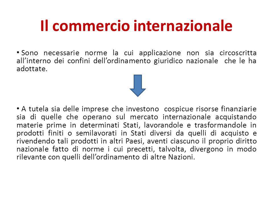 Il commercio internazionale Sono necessarie norme la cui applicazione non sia circoscritta all'interno dei confini dell'ordinamento giuridico nazional