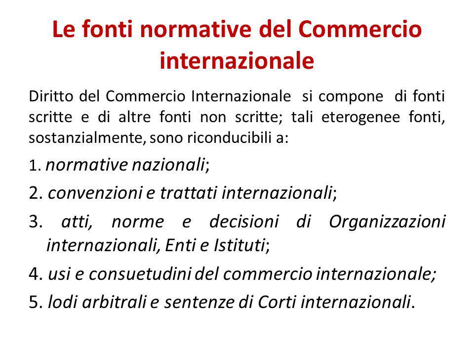 Le fonti normative del Commercio internazionale Diritto del Commercio Internazionale si compone di fonti scritte e di altre fonti non scritte; tali et