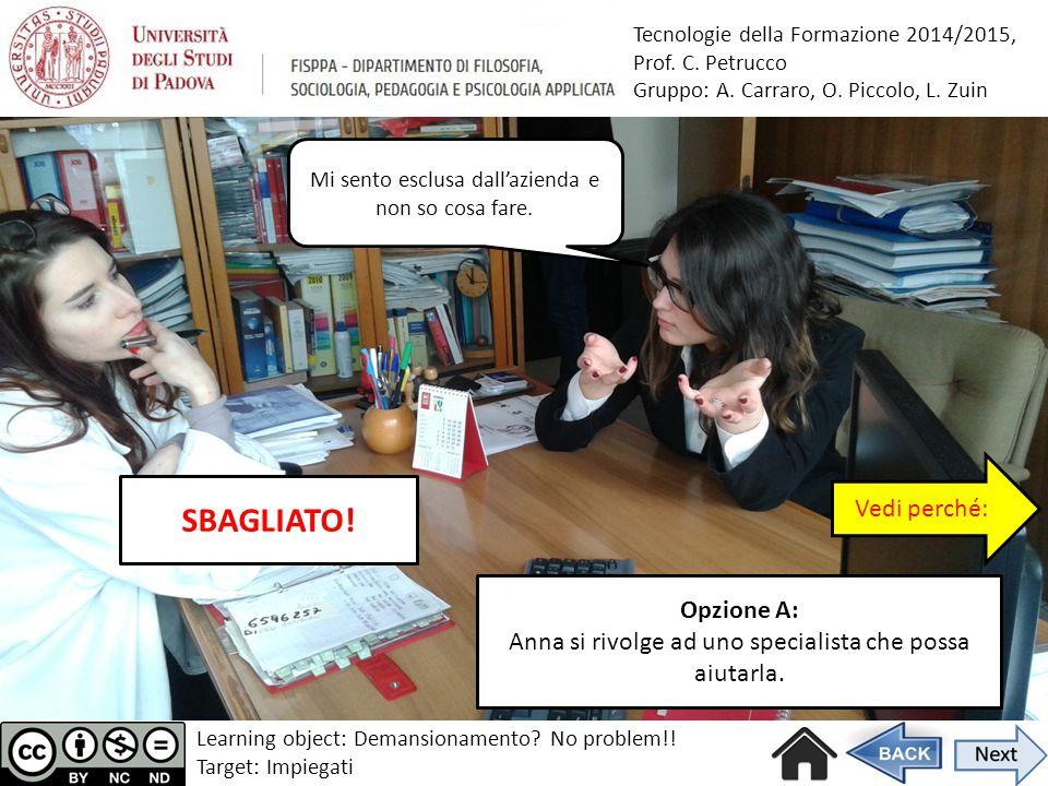 Tecnologie della Formazione 2014/2015, Prof. C. Petrucco Gruppo: A. Carraro, O. Piccolo, L. Zuin Opzione A: Anna si rivolge ad uno specialista che pos