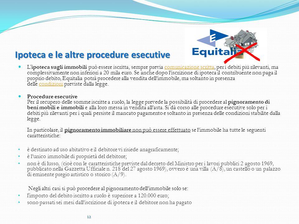 Ipoteca e le altre procedure esecutive L ipoteca sugli immobili può essere iscritta, sempre previa comunicazione scritta, per i debiti più rilevanti, ma complessivamente non inferiori a 20 mila euro.