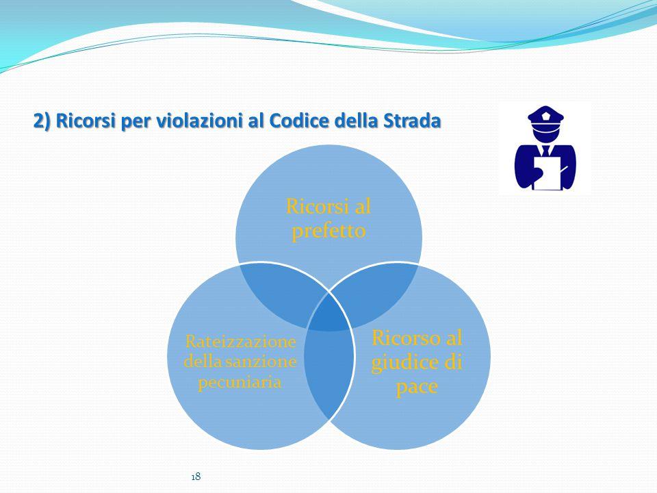 2) Ricorsi per violazioni al Codice della Strada Ricorsi al prefetto Ricorso al giudice di pace Rateizzazione della sanzione pecuniaria 18