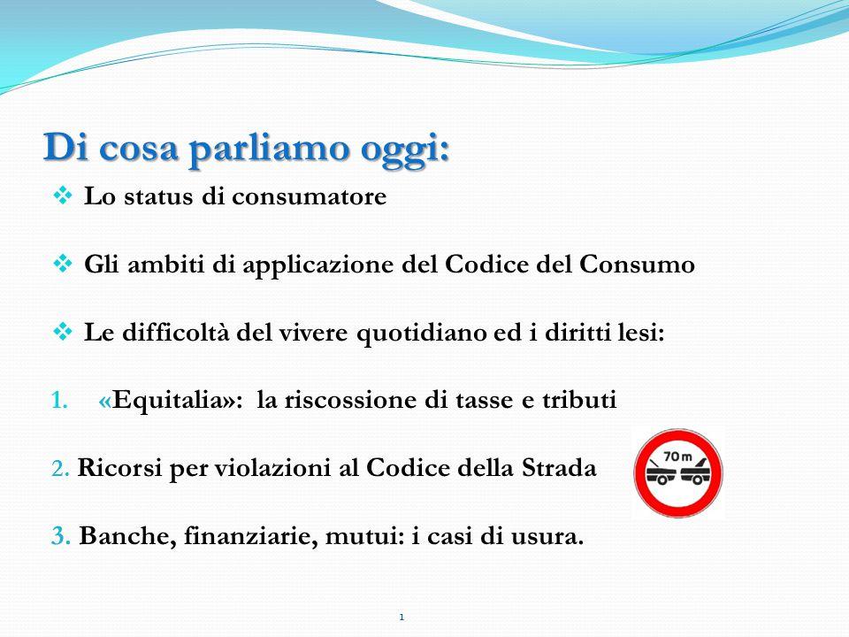 Di cosa parliamo oggi:  Lo status di consumatore  Gli ambiti di applicazione del Codice del Consumo  Le difficoltà del vivere quotidiano ed i diritti lesi: 1.