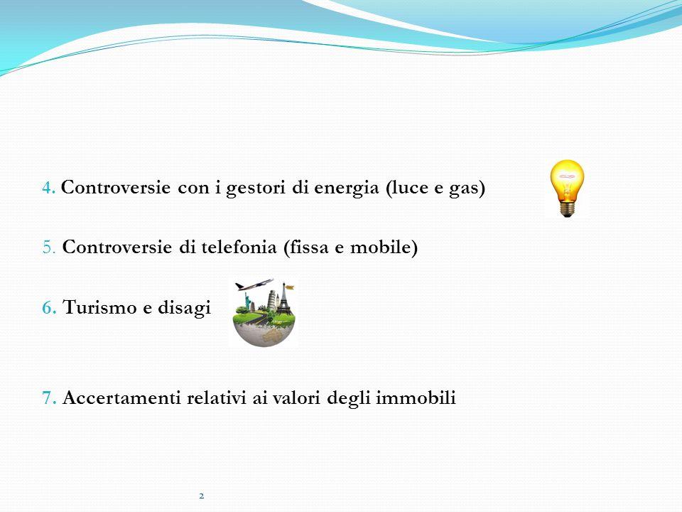 2 4. Controversie con i gestori di energia (luce e gas) 5. Controversie di telefonia (fissa e mobile) 6. Turismo e disagi 7. Accertamenti relativi ai