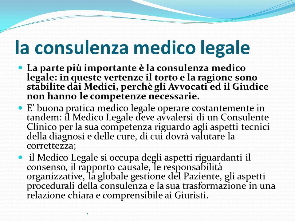 la consulenza medico legale La parte più importante è la consulenza medico legale: in queste vertenze il torto e la ragione sono stabilite dai Medici, perchè gli Avvocati ed il Giudice non hanno le competenze necessarie.