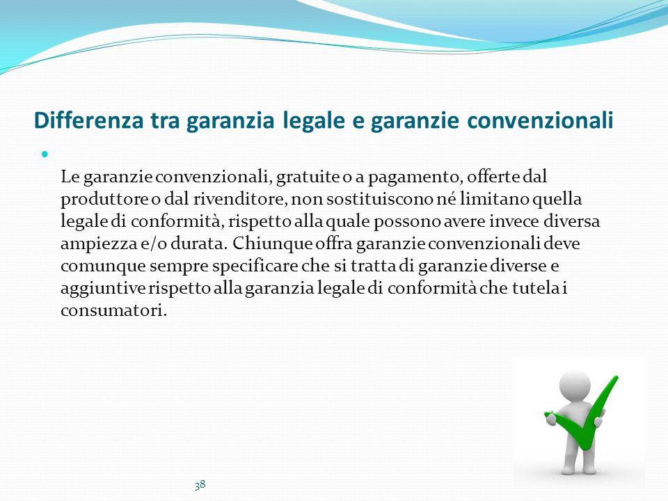 Differenza tra garanzia legale e garanzie convenzionali Le garanzie convenzionali, gratuite o a pagamento, offerte dal produttore o dal rivenditore, n