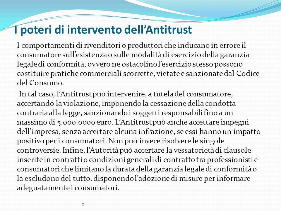 I poteri di intervento dell'Antitrust I comportamenti di rivenditori o produttori che inducano in errore il consumatore sull'esistenza o sulle modalit