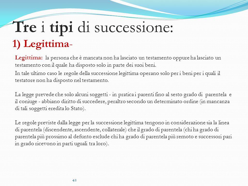 Tre i tipi di successione: 1) Legittima- Legittima: la persona che è mancata non ha lasciato un testamento oppure ha lasciato un testamento con il quale ha disposto solo in parte dei suoi beni.