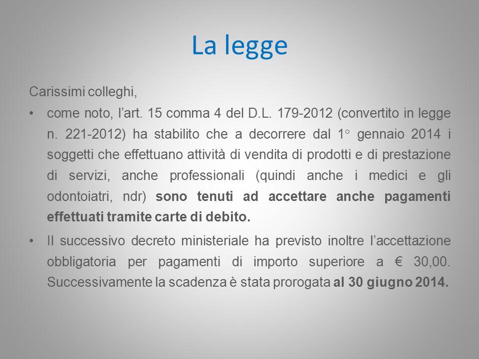 La legge Carissimi colleghi, come noto, l'art. 15 comma 4 del D.L.