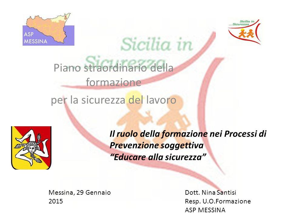 Piano straordinario della formazione per la sicurezza del lavoro Messina, 29 Gennaio 2015 Il ruolo della formazione nei Processi di Prevenzione soggettiva Educare alla sicurezza Dott.