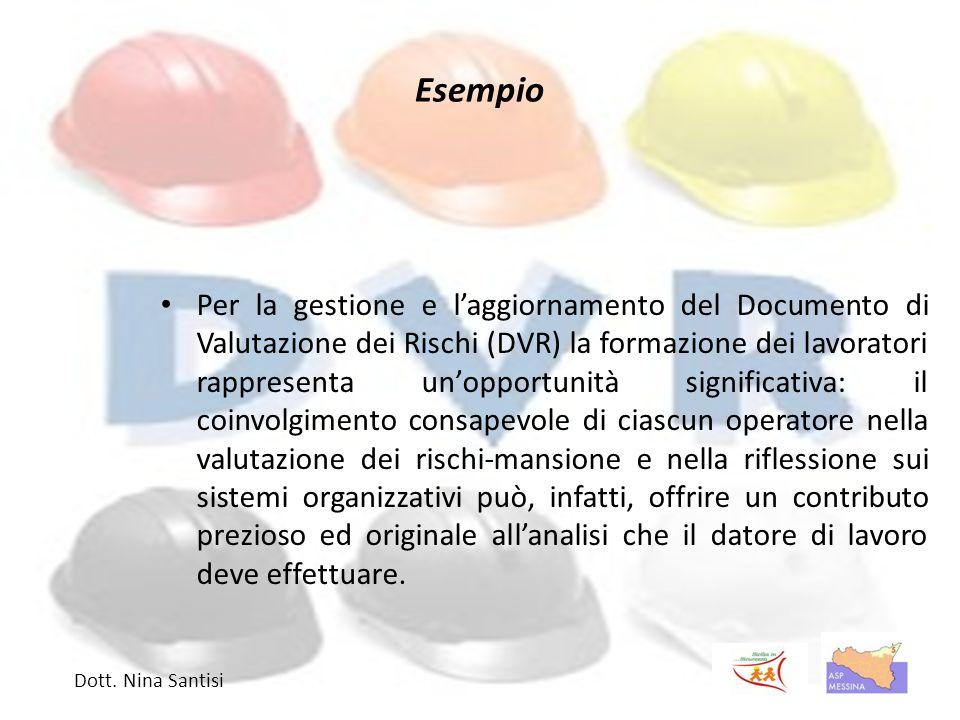 Esempio Per la gestione e l'aggiornamento del Documento di Valutazione dei Rischi (DVR) la formazione dei lavoratori rappresenta un'opportunità signi