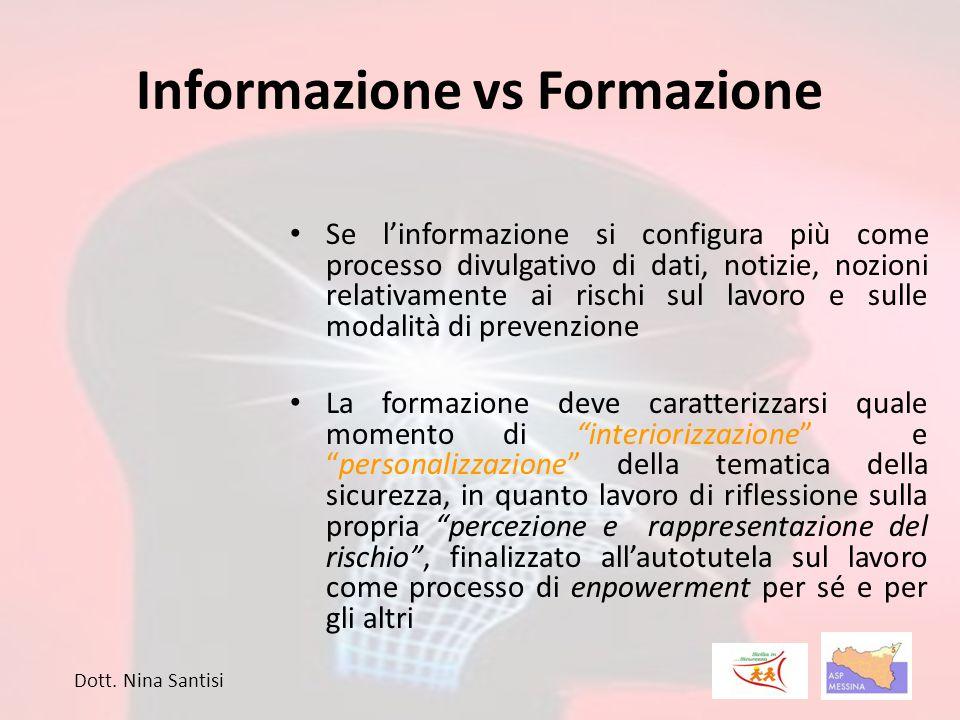 Informazione vs Formazione Se l'informazione si configura più come processo divulgativo di dati, notizie, nozioni relativamente ai rischi sul lavoro e