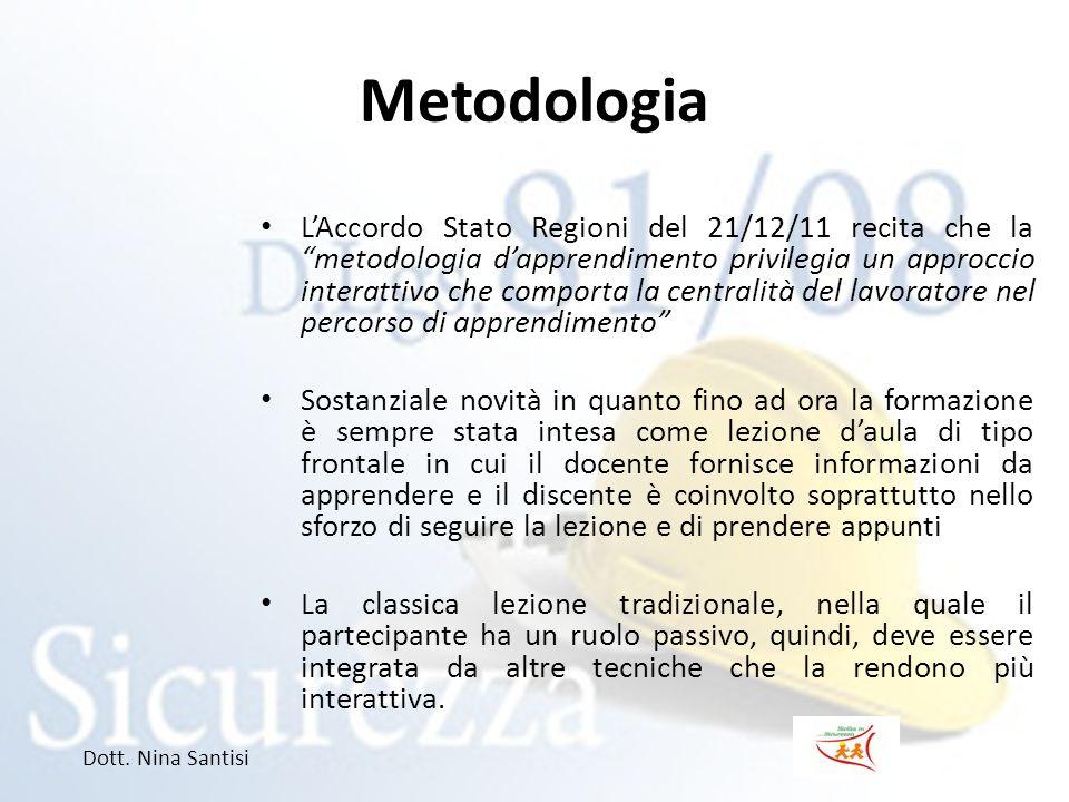 """Metodologia L'Accordo Stato Regioni del 21/12/11 recita che la """"metodologia d'apprendimento privilegia un approccio interattivo che comporta la centra"""