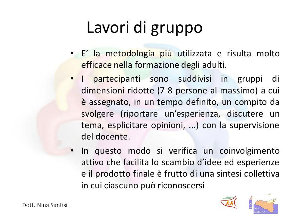 Lavori di gruppo E' la metodologia più utilizzata e risulta molto efficace nella formazione degli adulti.