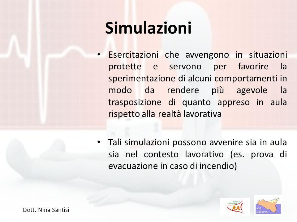 Simulazioni Esercitazioni che avvengono in situazioni protette e servono per favorire la sperimentazione di alcuni comportamenti in modo da rendere pi