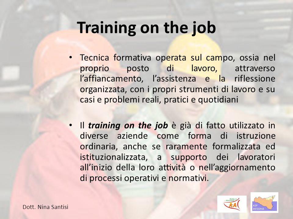 Training on the job Tecnica formativa operata sul campo, ossia nel proprio posto di lavoro, attraverso l'affiancamento, l'assistenza e la riflessione