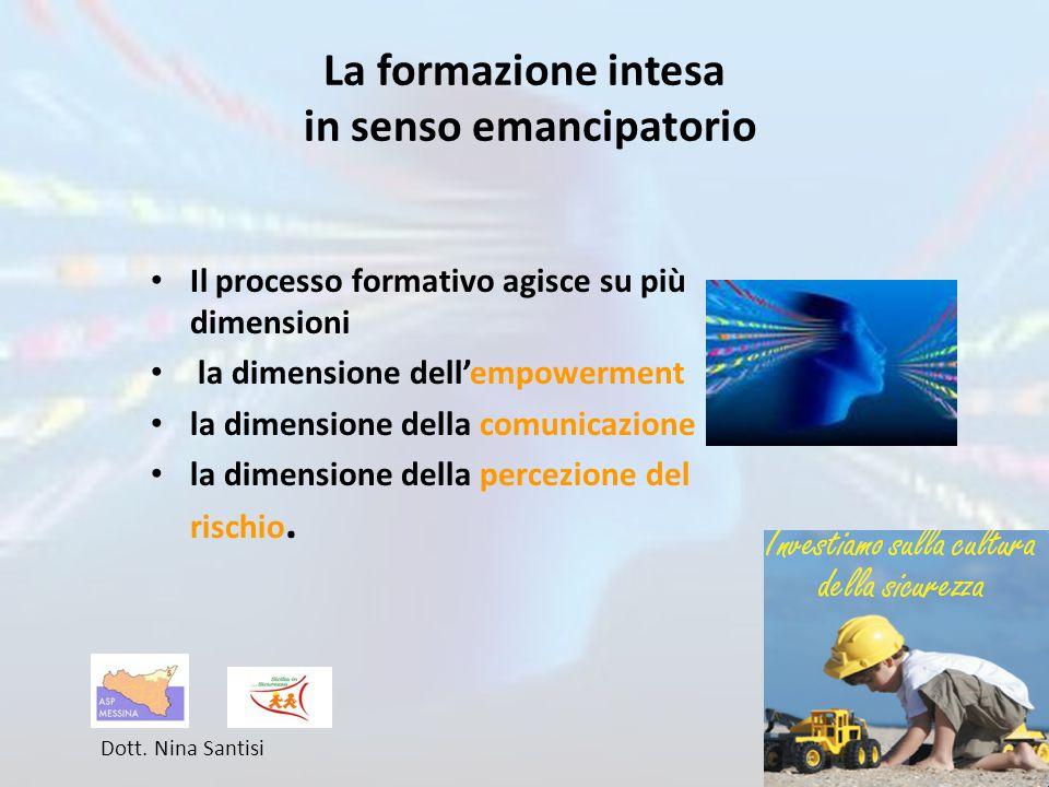 La formazione intesa in senso emancipatorio Il processo formativo agisce su più dimensioni la dimensione dell'empowerment la dimensione della comunicazione la dimensione della percezione del rischio.
