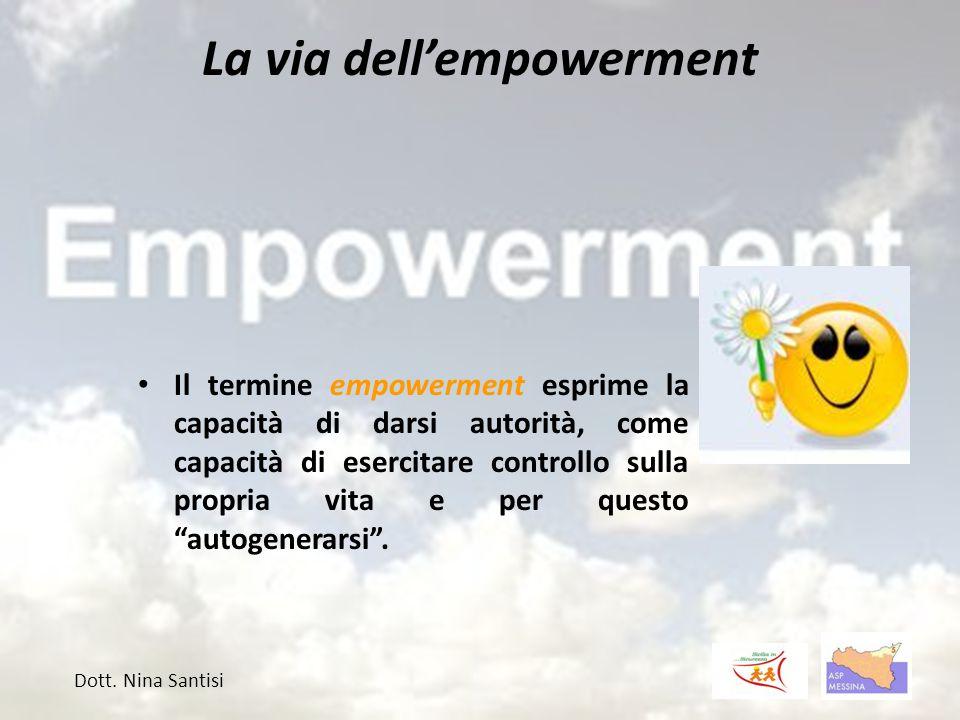 La via dell'empowerment Il termine empowerment esprime la capacità di darsi autorità, come capacità di esercitare controllo sulla propria vita e per questo autogenerarsi .