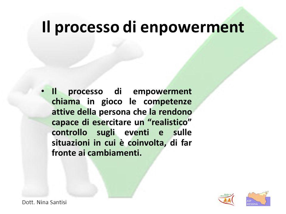 Il processo di enpowerment Il processo di empowerment chiama in gioco le competenze attive della persona che la rendono capace di esercitare un realistico controllo sugli eventi e sulle situazioni in cui è coinvolta, di far fronte ai cambiamenti.