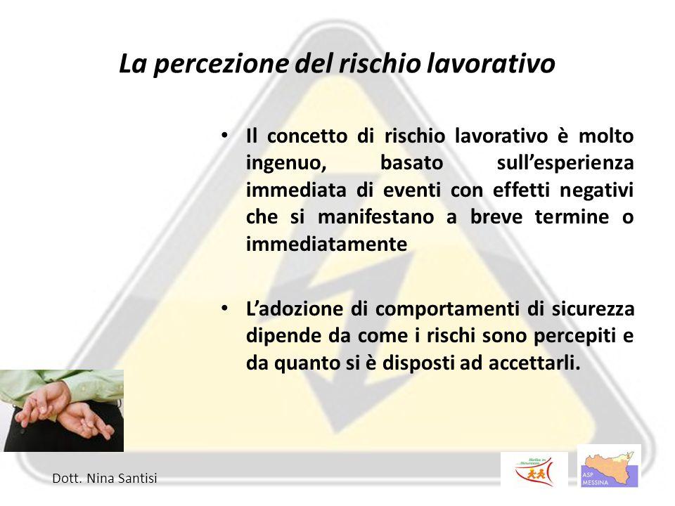 La percezione del rischio lavorativo Il concetto di rischio lavorativo è molto ingenuo, basato sull'esperienza immediata di eventi con effetti negativ