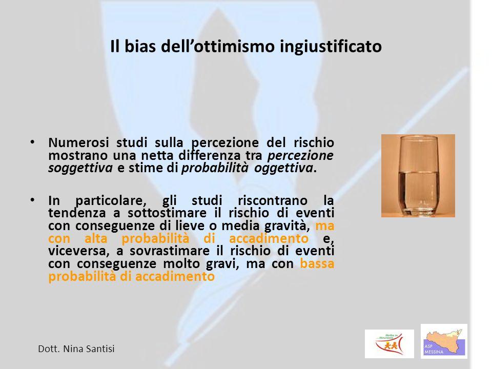 Il bias dell'ottimismo ingiustificato Numerosi studi sulla percezione del rischio mostrano una netta differenza tra percezione soggettiva e stime di probabilità oggettiva.