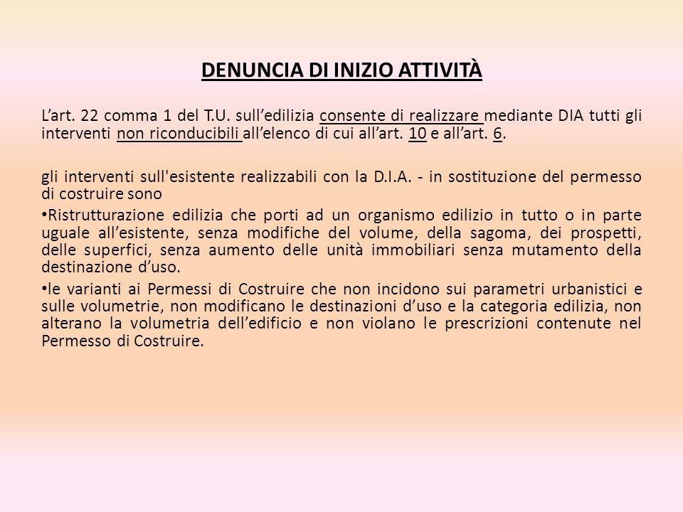 DENUNCIA DI INIZIO ATTIVITÀ L'art. 22 comma 1 del T.U. sull'edilizia consente di realizzare mediante DIA tutti gli interventi non riconducibili all'el