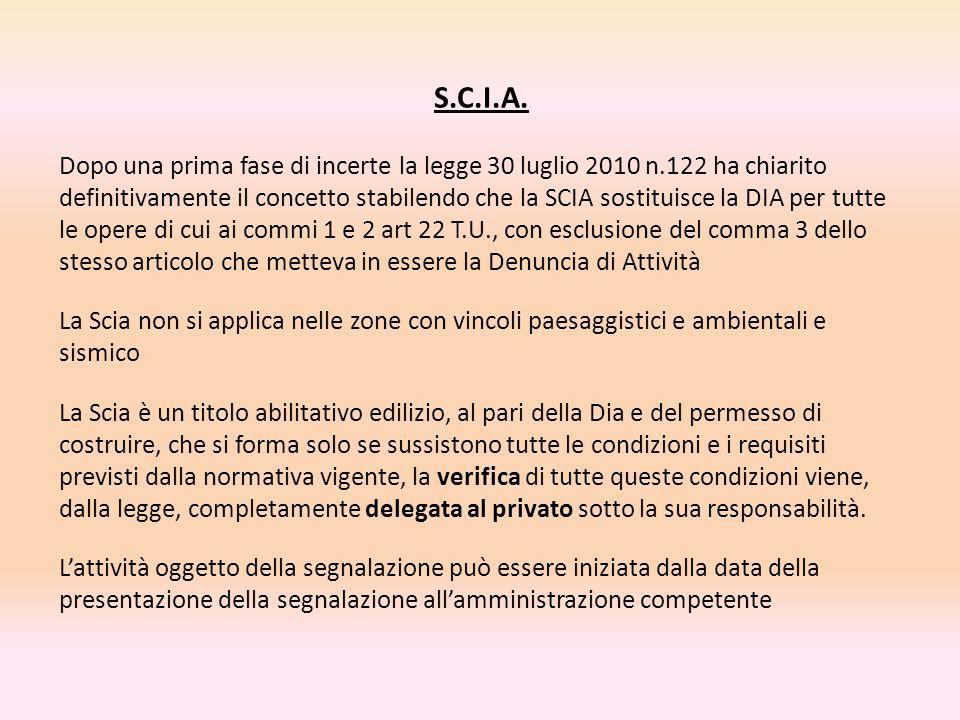 S.C.I.A. Dopo una prima fase di incerte la legge 30 luglio 2010 n.122 ha chiarito definitivamente il concetto stabilendo che la SCIA sostituisce la DI