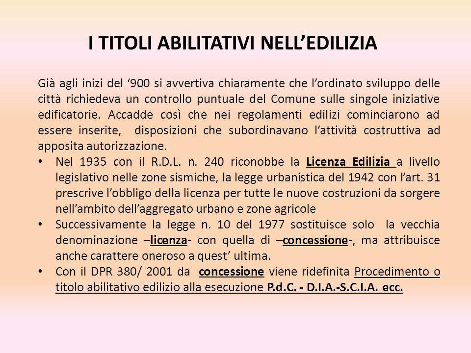 I TITOLI ABILITATIVI NELL'EDILIZIA Già agli inizi del '900 si avvertiva chiaramente che l'ordinato sviluppo delle città richiedeva un controllo puntua