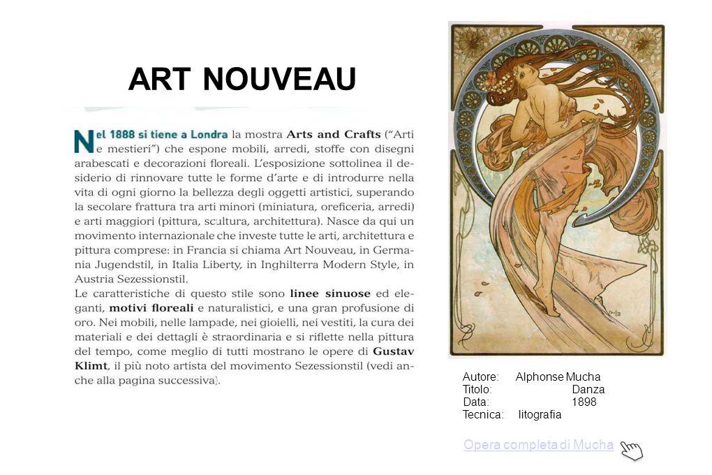 ART NOUVEAU Autore:Alphonse Mucha Titolo: Danza Data: 1898 Tecnica: litografia Opera completa di Mucha
