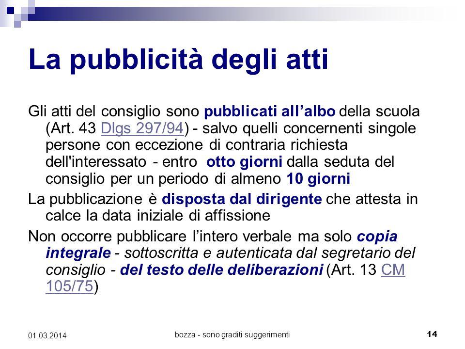 bozza - sono graditi suggerimenti14 01.03.2014 La pubblicità degli atti Gli atti del consiglio sono pubblicati all'albo della scuola (Art. 43 Dlgs 297