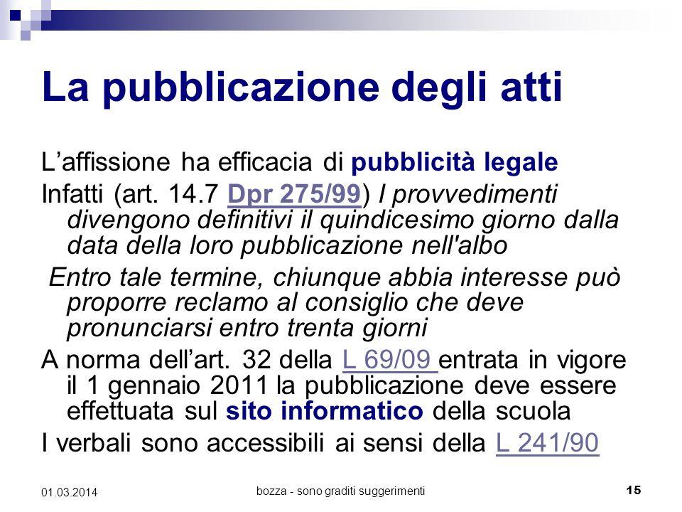 bozza - sono graditi suggerimenti15 01.03.2014 La pubblicazione degli atti L'affissione ha efficacia di pubblicità legale Infatti (art. 14.7 Dpr 275/9