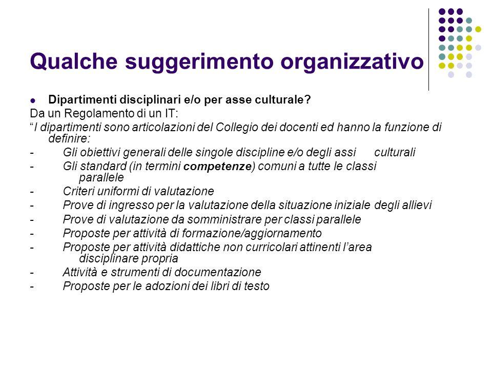 Qualche suggerimento organizzativo Dipartimenti disciplinari e/o per asse culturale.