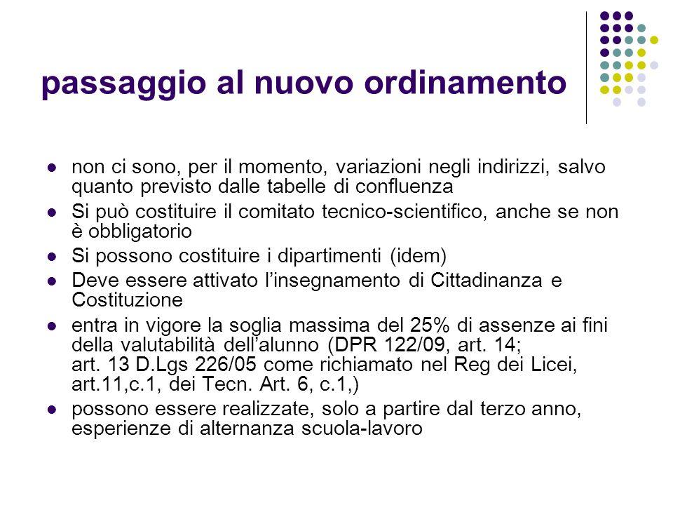 passaggio al nuovo ordinamento non ci sono, per il momento, variazioni negli indirizzi, salvo quanto previsto dalle tabelle di confluenza Si può costituire il comitato tecnico-scientifico, anche se non è obbligatorio Si possono costituire i dipartimenti (idem) Deve essere attivato l'insegnamento di Cittadinanza e Costituzione entra in vigore la soglia massima del 25% di assenze ai fini della valutabilità dell'alunno (DPR 122/09, art.