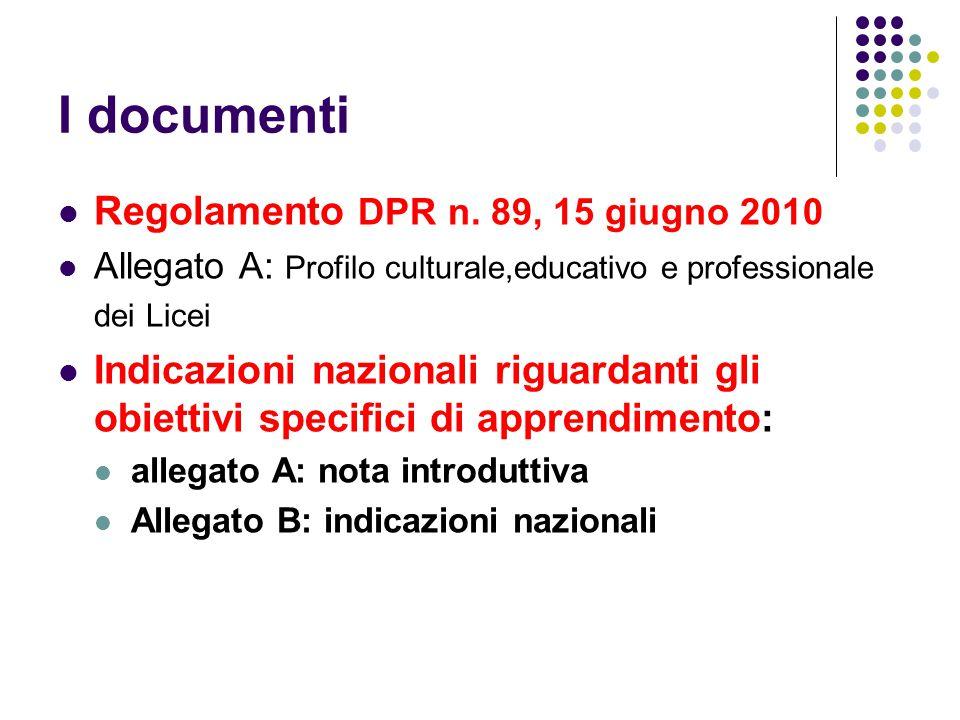 I documenti Regolamento DPR n.