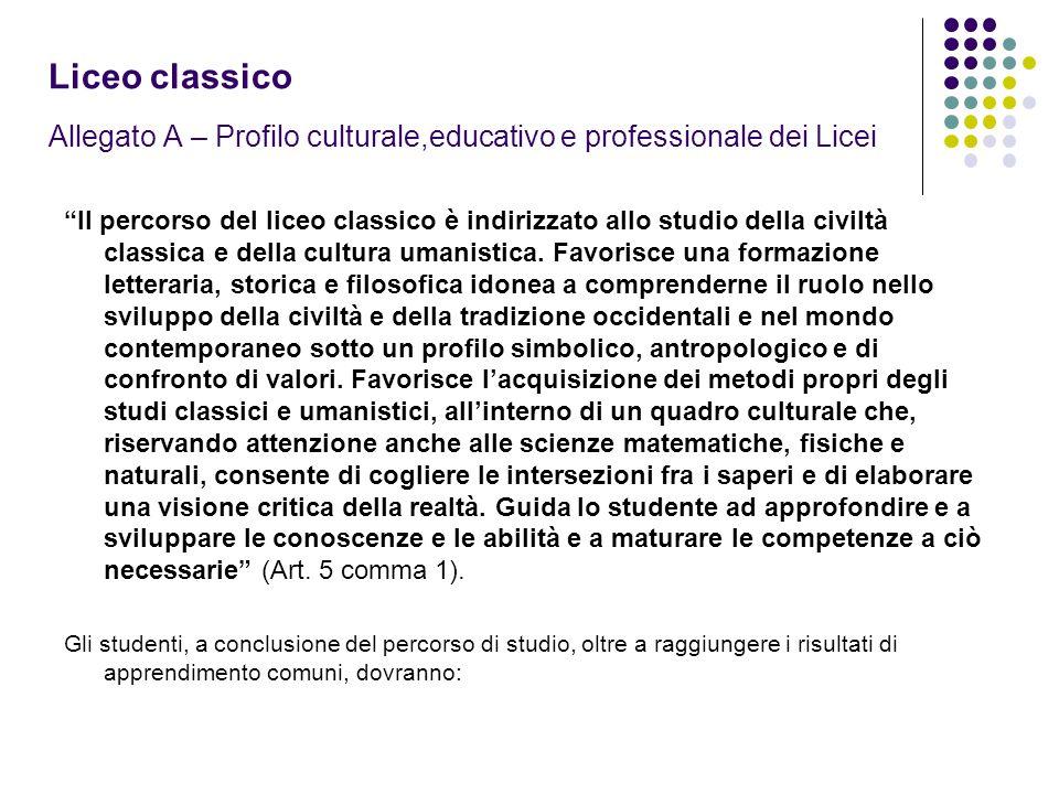 Liceo classico Allegato A – Profilo culturale,educativo e professionale dei Licei Il percorso del liceo classico è indirizzato allo studio della civiltà classica e della cultura umanistica.