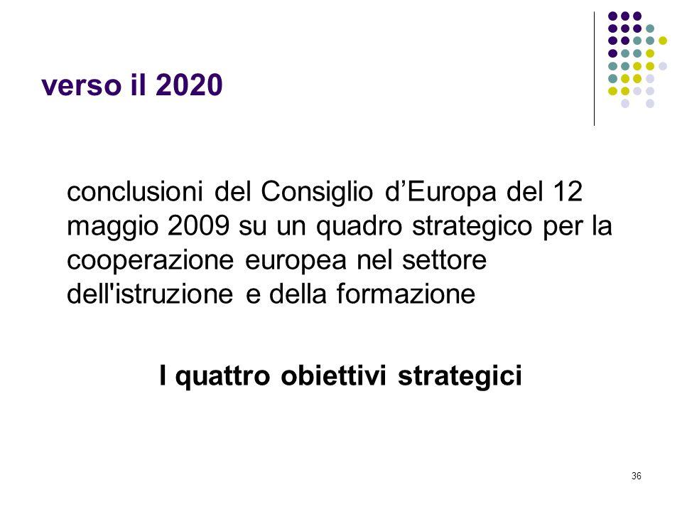 36 verso il 2020 conclusioni del Consiglio d'Europa del 12 maggio 2009 su un quadro strategico per la cooperazione europea nel settore dell istruzione e della formazione I quattro obiettivi strategici