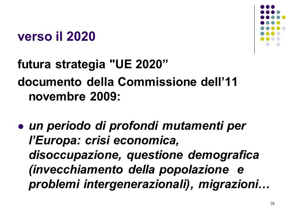 39 verso il 2020 futura strategia UE 2020 documento della Commissione dell'11 novembre 2009: un periodo di profondi mutamenti per l'Europa: crisi economica, disoccupazione, questione demografica (invecchiamento della popolazione e problemi intergenerazionali), migrazioni…