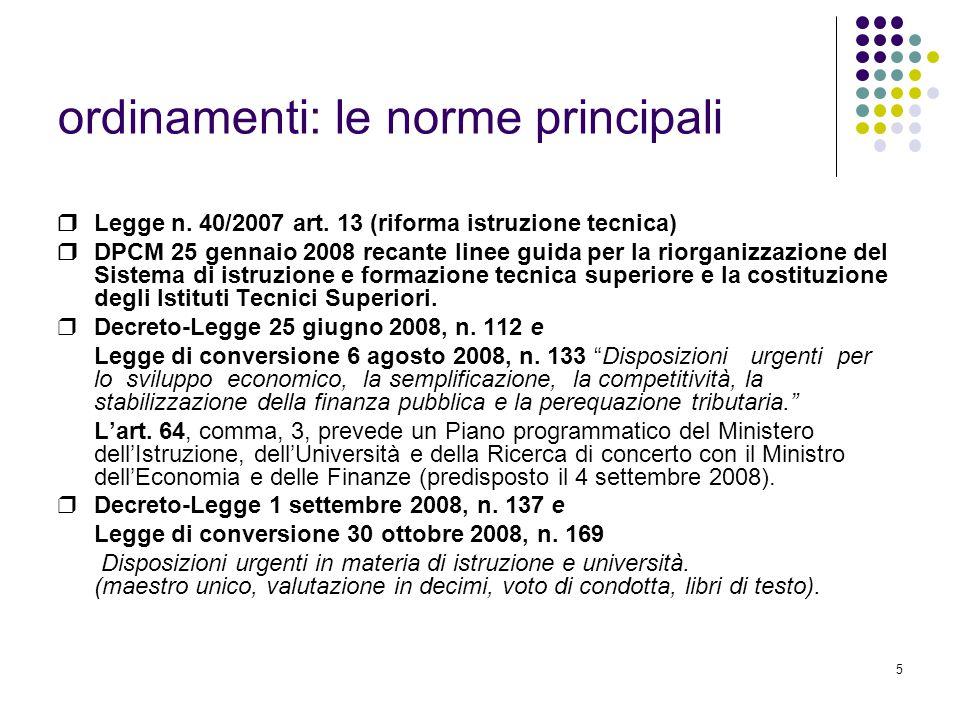 5 ordinamenti: le norme principali ❒ Legge n.40/2007 art.