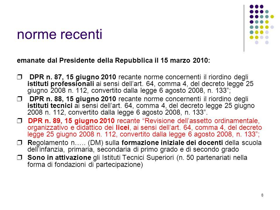 8 norme recenti emanate dal Presidente della Repubblica il 15 marzo 2010: ❒ DPR n.