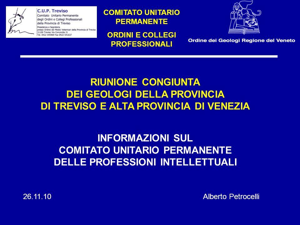 RIUNIONE CONGIUNTA DEI GEOLOGI DELLA PROVINCIA DI TREVISO E ALTA PROVINCIA DI VENEZIA INFORMAZIONI SUL COMITATO UNITARIO PERMANENTE DELLE PROFESSIONI