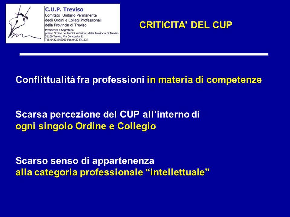 CRITICITA' DEL CUP Conflittualità fra professioni in materia di competenze Scarsa percezione del CUP all'interno di ogni singolo Ordine e Collegio Sca