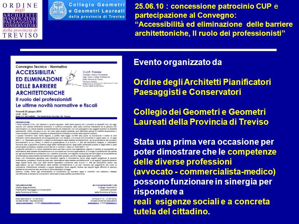 Evento organizzato da Ordine degli Architetti Pianificatori Paesaggisti e Conservatori Collegio dei Geometri e Geometri Laureati della Provincia di Tr